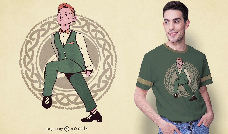 Diseño de camiseta de bailarina irlandesa.