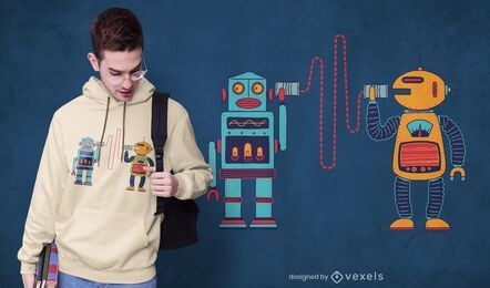 Diseño de camiseta de robots walkie talkie.