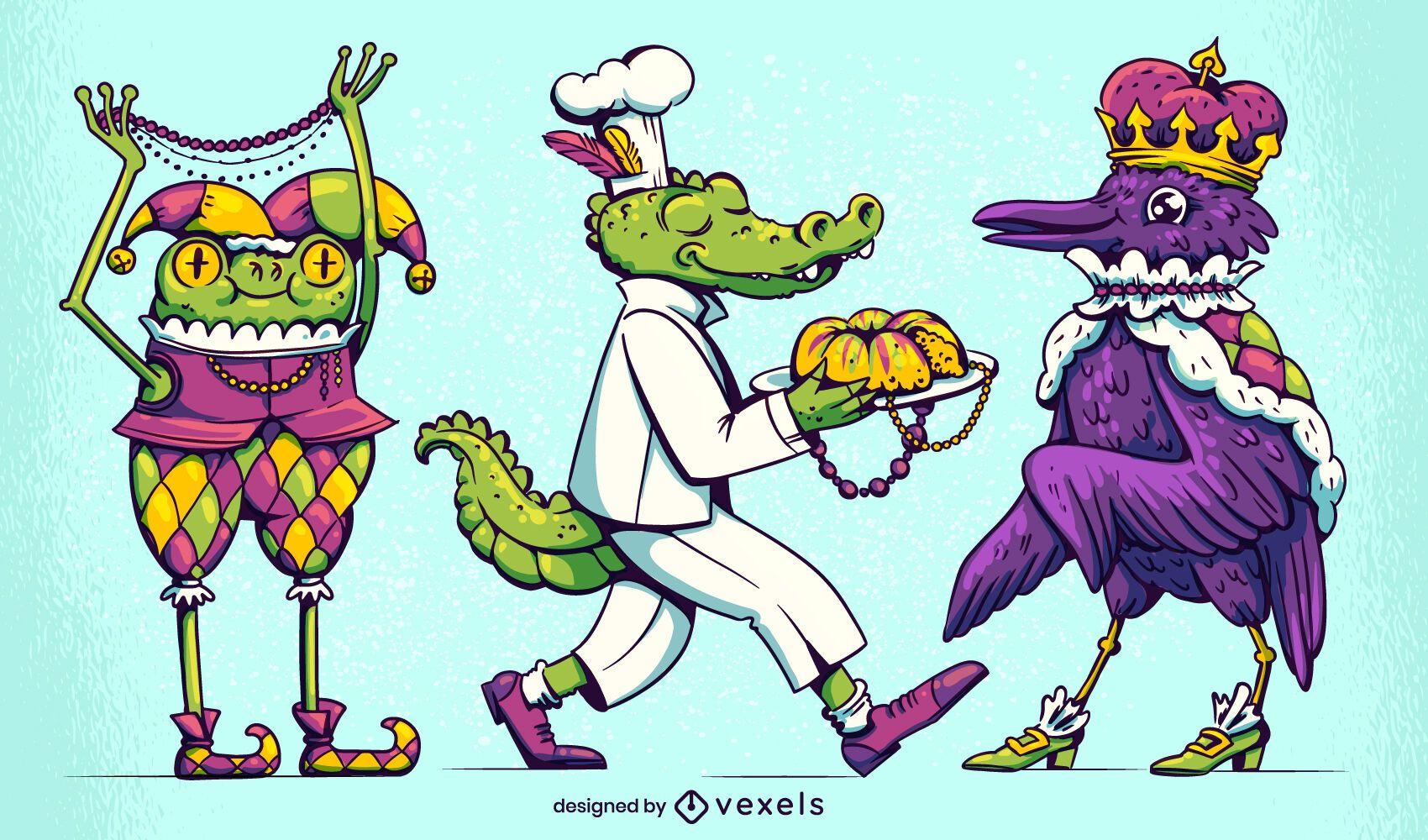Conjunto de caracteres de mardi gras