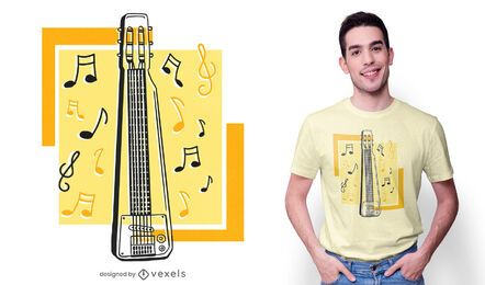 Diseño de camiseta de guitarra de acero.