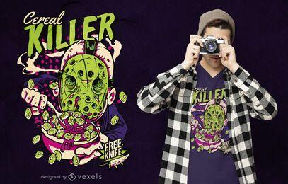Divertido diseño de camiseta de asesino de cereales.