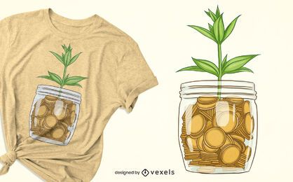 Design de t-shirt com planta de jarro de moedas
