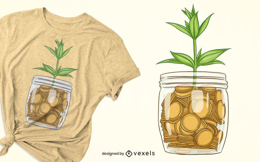 Diseño de camiseta de planta de tarro de monedas