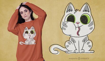 Diseño de camiseta gato comiendo gusano