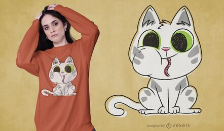 Katzenfressendes Wurm-T-Shirt Design