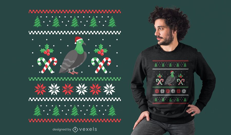 Pidgeon ugly sweater t-shirt design