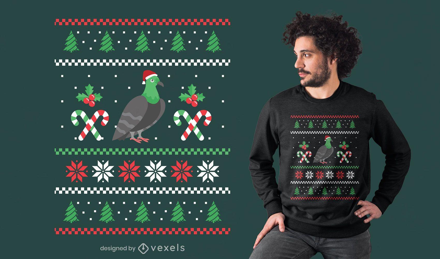 Design de camiseta com suéter feio Pidgeon