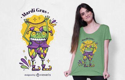 Diseño de camiseta de personaje de mardi gras.