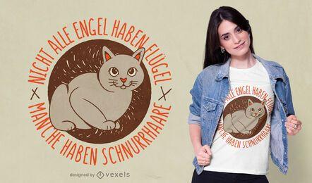 Diseño de camiseta alemana de gato ángel.