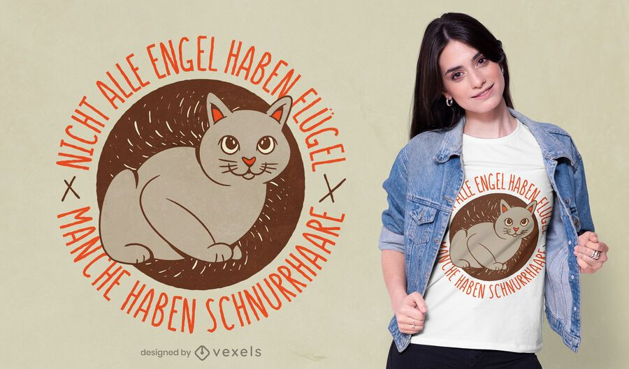Angel cat german t-shirt design