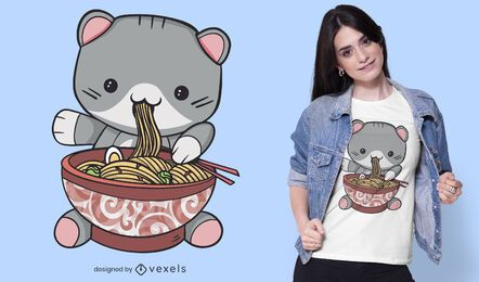 Design de t-shirt de gato ramen Kawaii