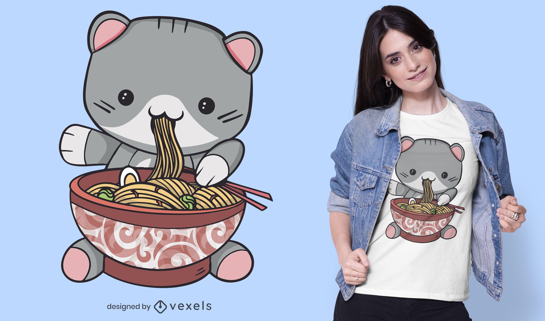 Design de t-shirt de gato ramen Kawaii