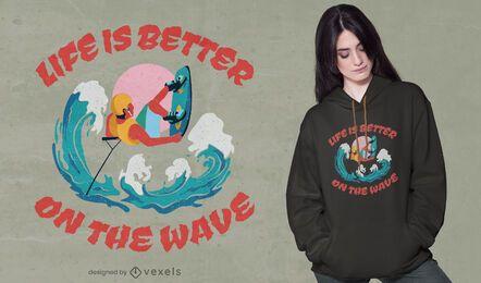Diseño de camiseta con cita de wakeboard.