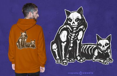 Design de t-shirt de gatos com esqueleto