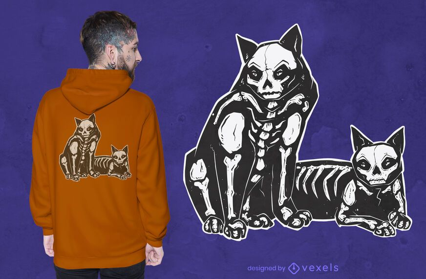 Skeleton cats t-shirt design