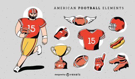 Conjunto de elementos de fútbol americano