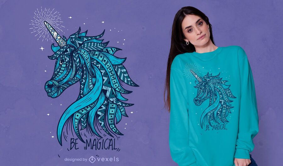 Design de camiseta mágica de unicórnio