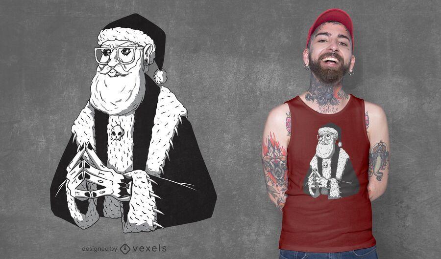 Diseño de camiseta gótica de santa claus