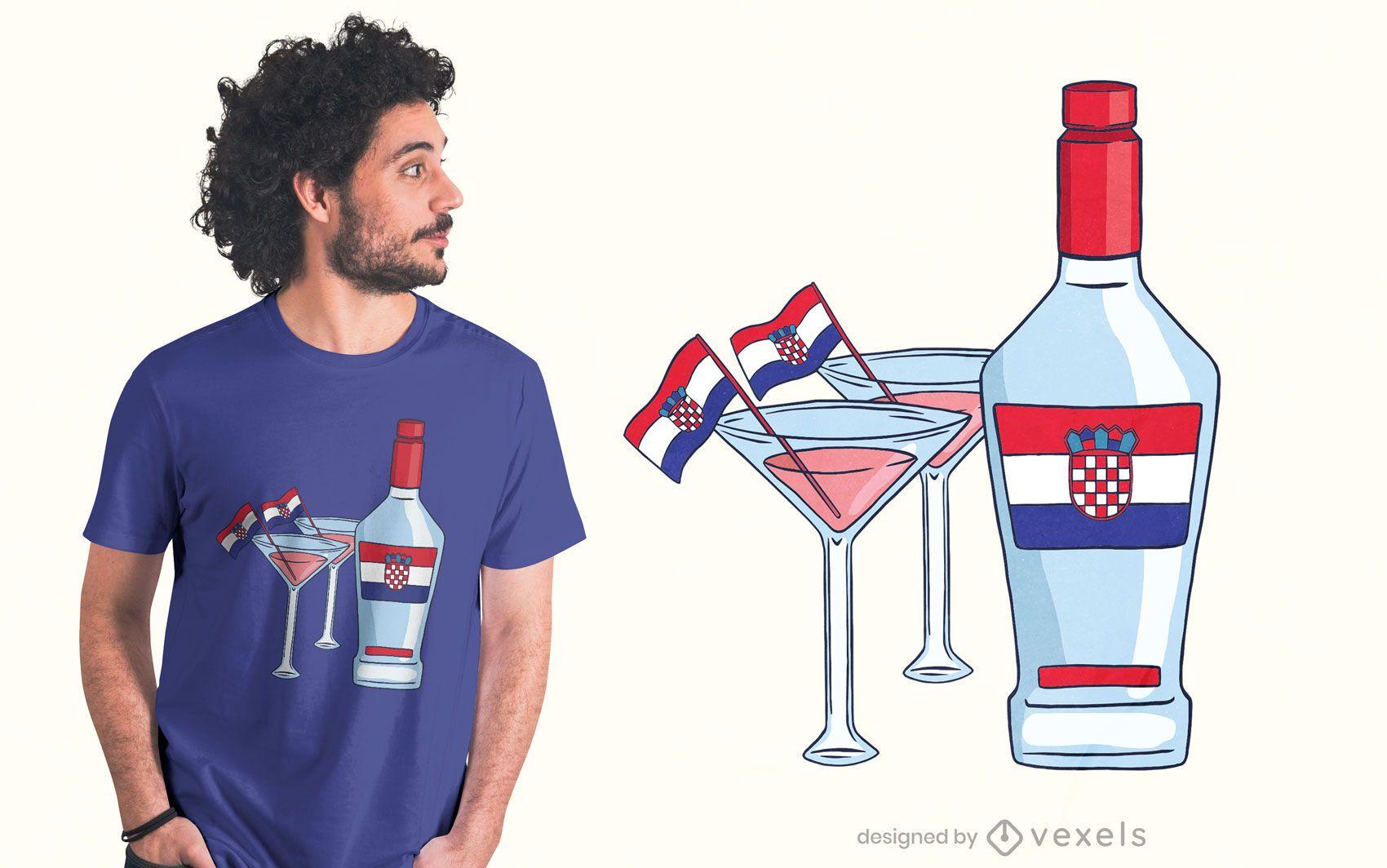 Croatia martini t-shirt design