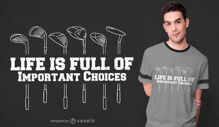 Diseño de camiseta con cita de golf