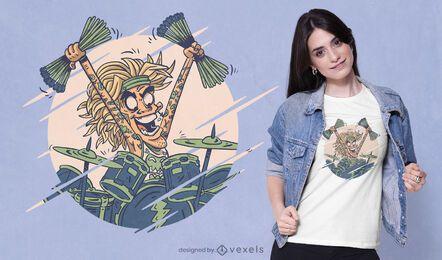 Diseño de camiseta de baterista loco