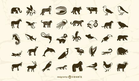Animals filled stroke set design