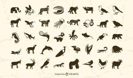Desenho de conjunto de traços com preenchimento de animais