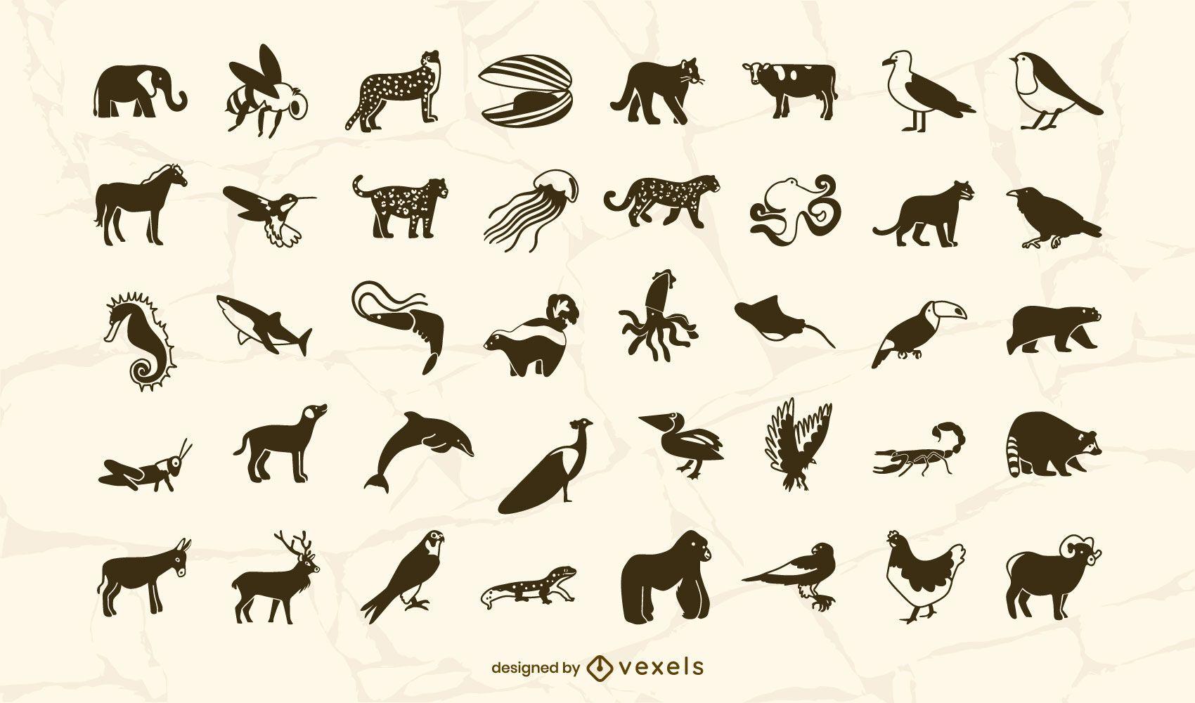 Animals filled stroke set design