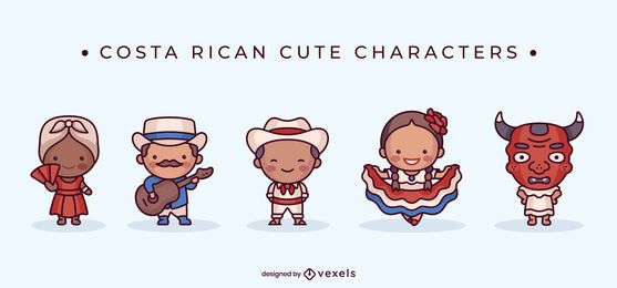 Costa rican cute character set