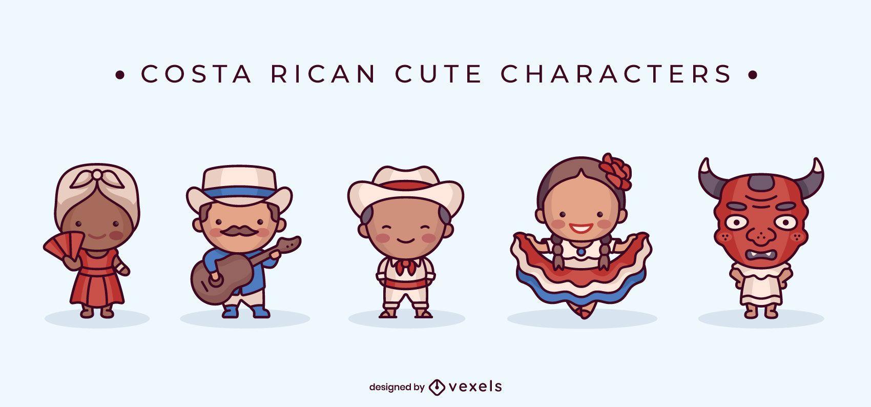 Lindo conjunto de caracteres costarricenses