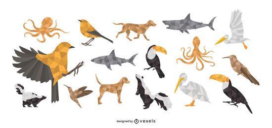 Conjunto de diseño poligonal de animales.