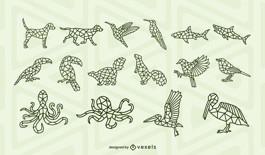 Animals polygonal stroke design set
