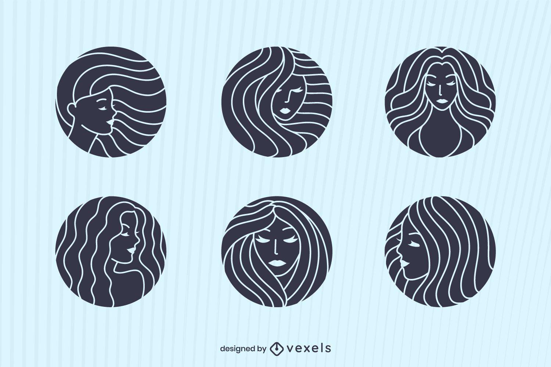 Diseño de conjunto de isotipos de mujeres