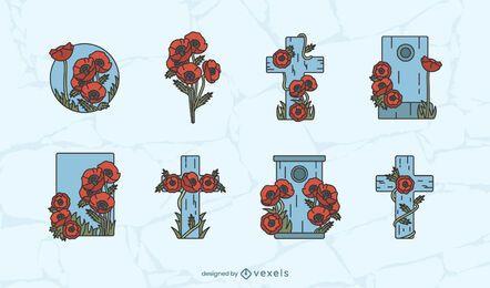 Conjunto de design do dia da lembrança