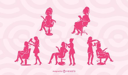 Hair salon silhouette set