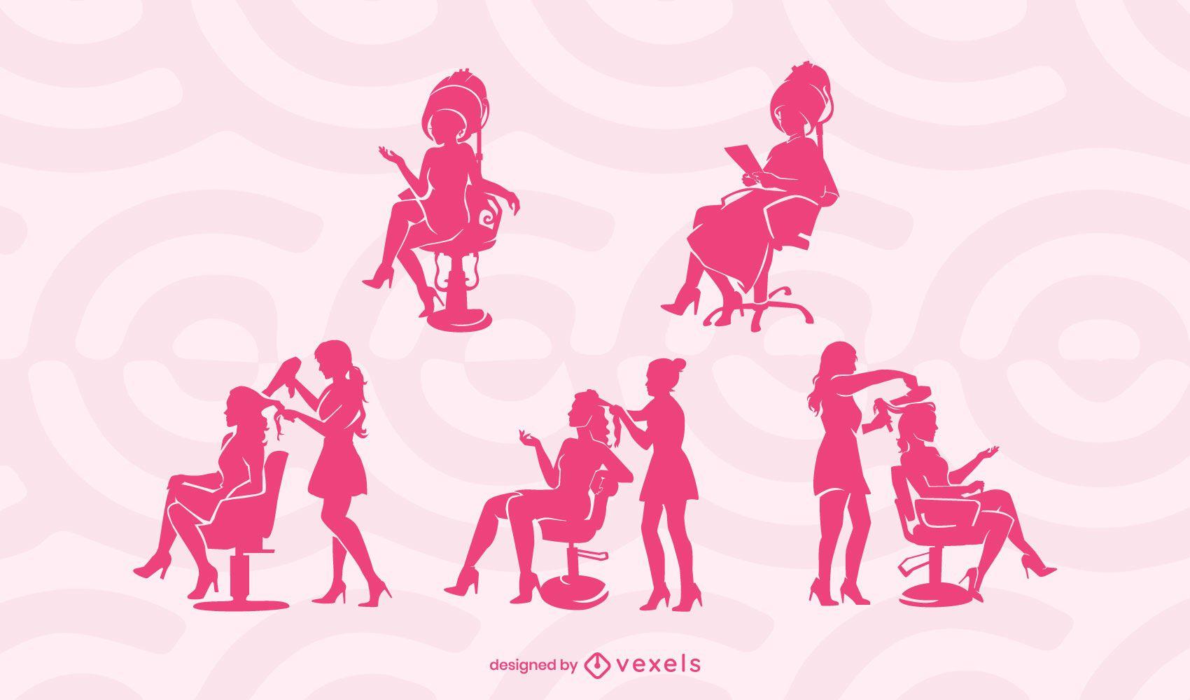 Hair salon silhouette set