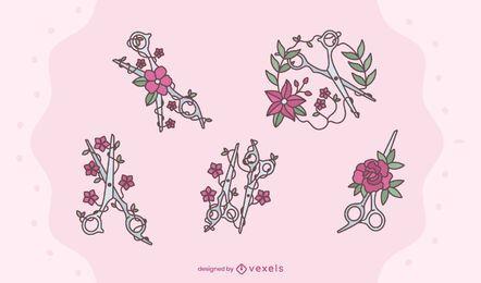 Conjunto de diseño de tijeras florales