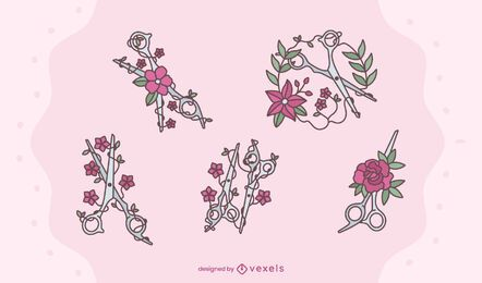 Conjunto de tesouras florais