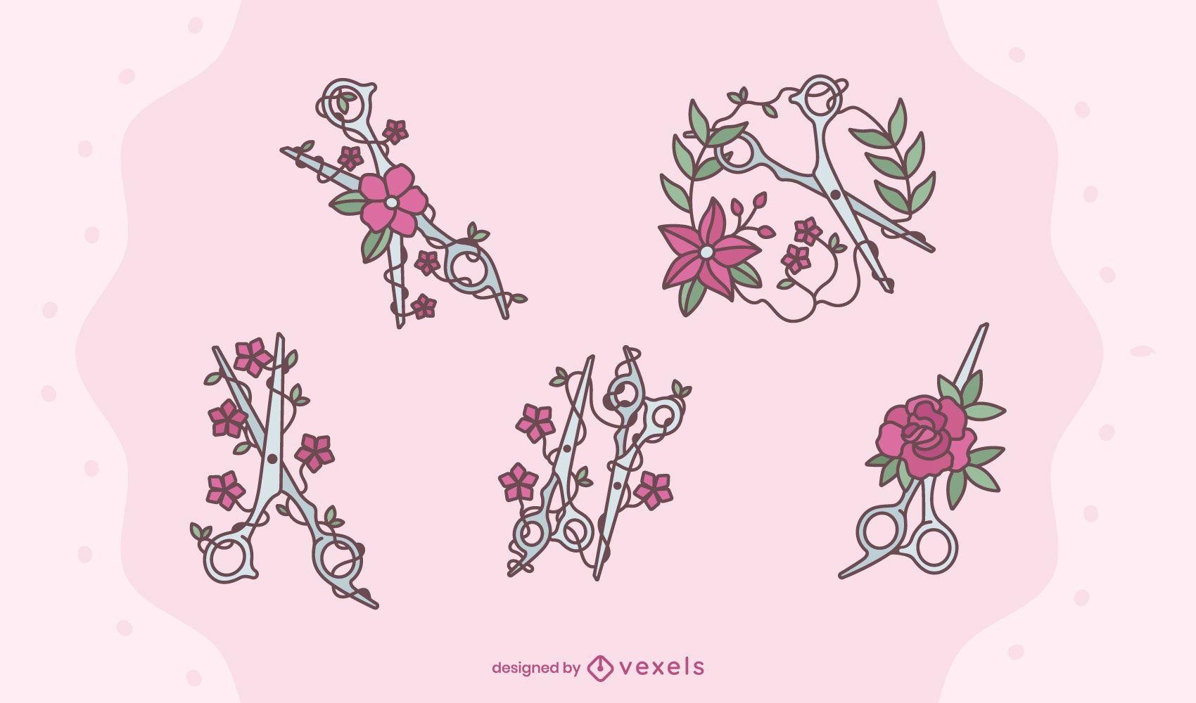 Floral scissors design set