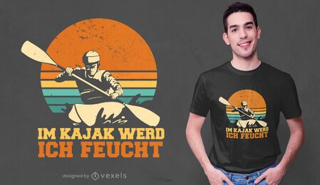 Design de camiseta com citação alemã Kajak