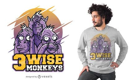 Three wise monkeys t-shirt design