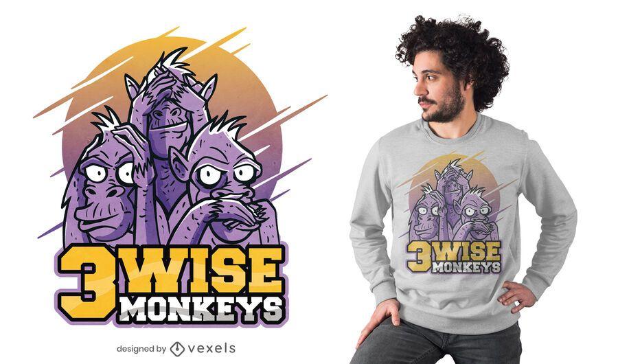 Diseño de camiseta de tres monos sabios.