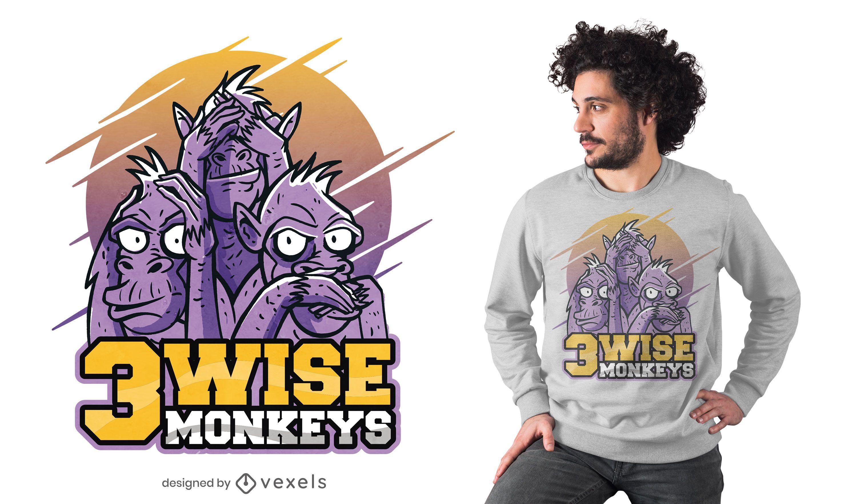 Dise?o de camiseta de tres monos sabios.