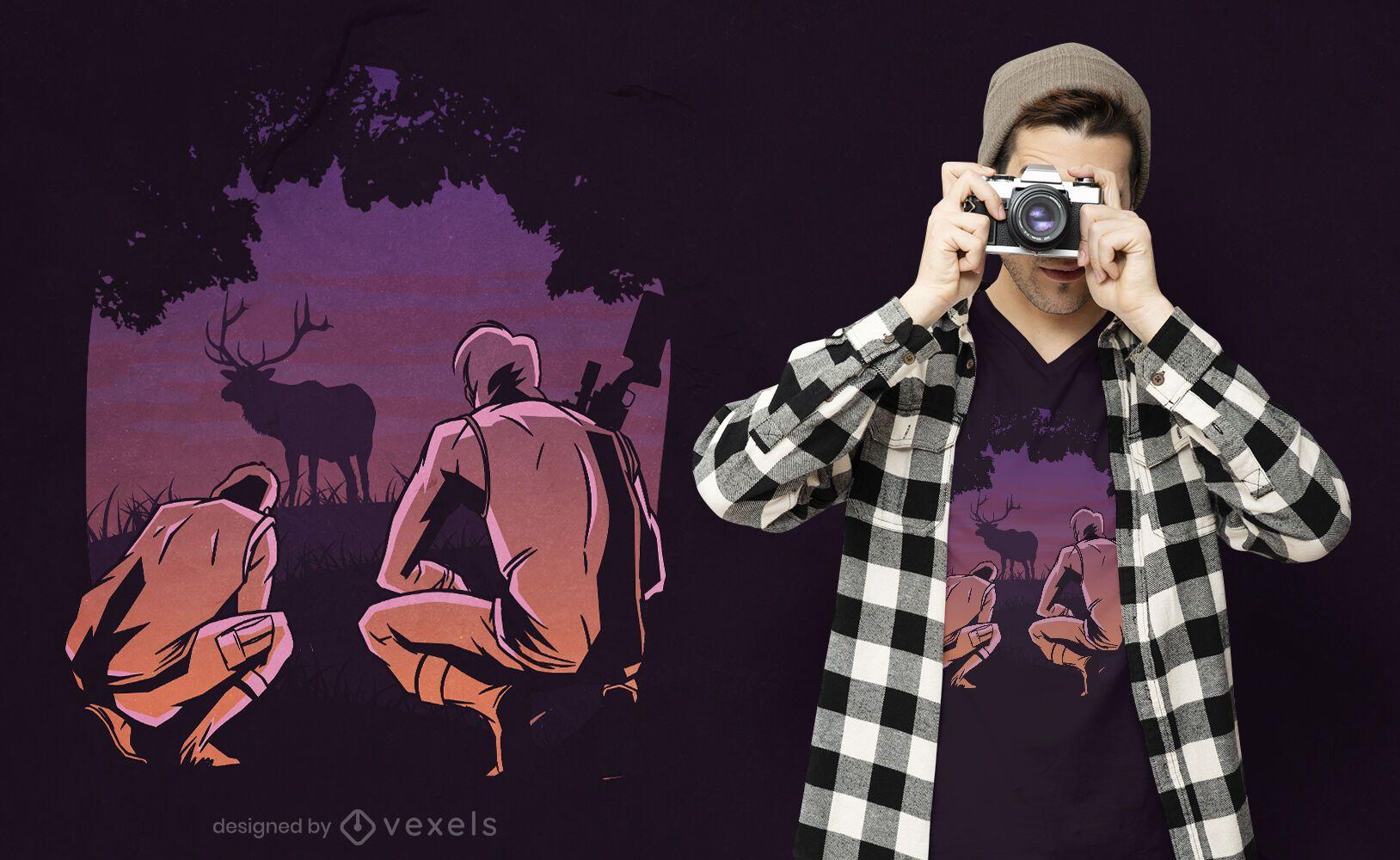 Diseño de camiseta de escena de caza.