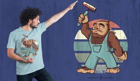 Diseño de camiseta Bigfoot Painting