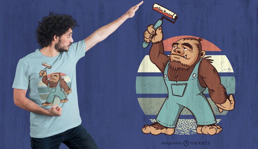 Design de t-shirt com pintura de Pé Grande