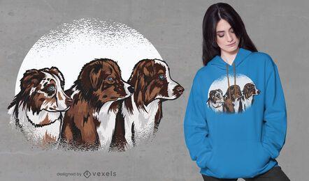 Diseño de camiseta de perros pastor australiano.