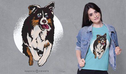 Diseño de camiseta de pastor australiano saltando