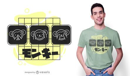 Diseño de camiseta de tres monos.