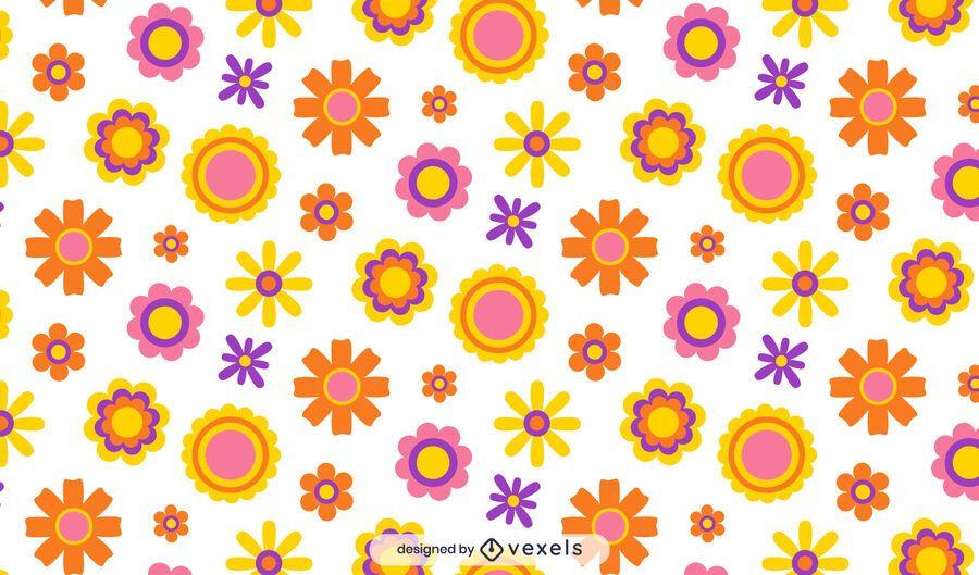Diseño de patrón de flores hippie